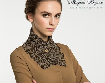Bobbin Lace collar-scarf 1 Russian lace bobbin lace handmade lace detachable collar russian lace