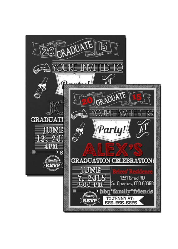 black and red graduation invitations burlap grad party