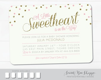 "Valentine's Day Baby Shower Invitation: ""Sweetheart on the Way""; Little Sweetheart Baby Shower Invite, Printable DIY Invitation"