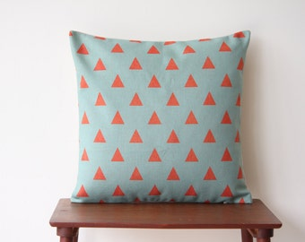 Geometric Pattern Teal Coral Triangles Decorative Pillow Cover Cushion Cover Throw Cushion Cover Scandinavian 150
