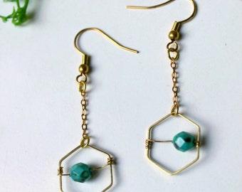 Pyxies - Tiny turquoise earrings