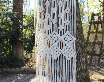 Large Macrame Wall Hanging with copper beads