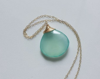 Aqua Chalcedony Necklace, Chalcedony Jewelry, Gold Filled Jewelry, 14k Gold Pendants, Gemstone Necklace