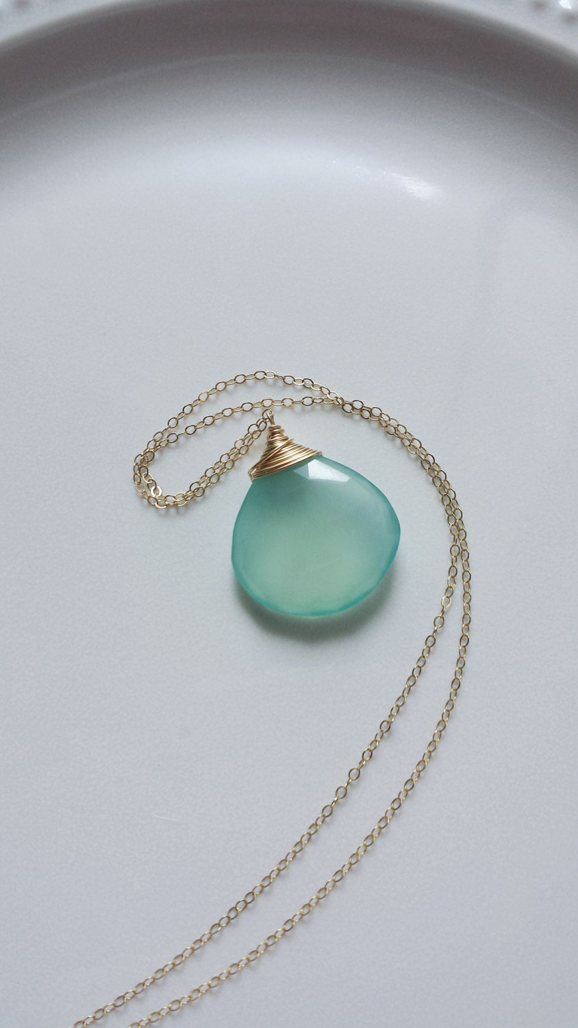 aqua chalcedony necklace chalcedony jewelry gold filled
