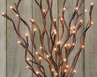 "19"" Lighted Willow Twig BRANCH - 60 lights Electric - Use indoor or outdoor"