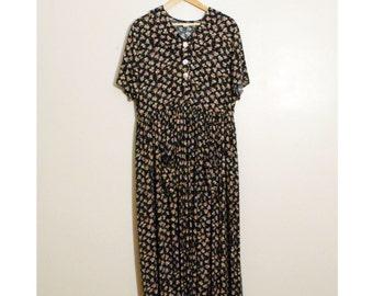 Vintage 1990s Floral Grunge Collared Dress, Size L