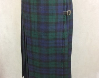 Vintage Kilt By St. Michael Tartan Plaid Pure Wool Made in UK 26 in Waist