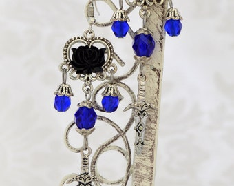 Deadly Temptress - Medieval Dagger Earrings - Renaissance jewelry Cobalt and Silver