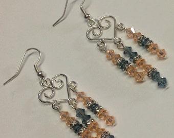 Peaches and Gunsmoke Crystal Chandelier Earrings