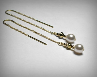 Threader Earrings, Swarovski Crystal & Pearl Earrings, 14K Yellow Gold Filled Earrings, Pearl Threaders, Long Drop Pearl Dangle Gold Earring