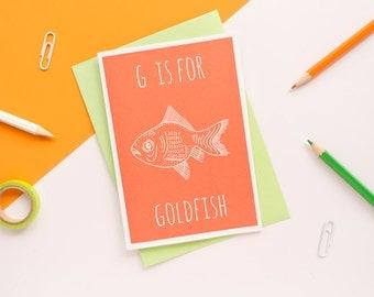 Goldfish Card. Animal Alphabet Card. 100% Recycled Card & Envelope