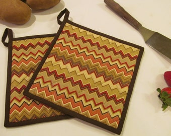 Red Chevron Quilted Potholders/Hotpads