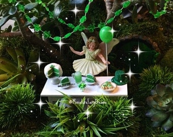 Fairy garden garland, shamrock garland, miniature garland, St. Patrick's Day garland, St. Patrick fairy garden, fairy garden St. Patty party