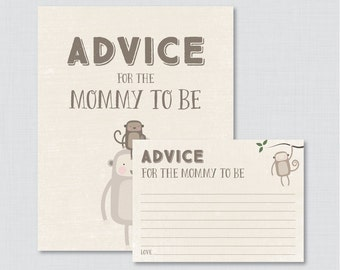 Monkey Advice for Mommy to Be Cards and Sign - Printable Monkey Themed Baby Shower Advice for Mom, Advice for Parents to Be - 0040