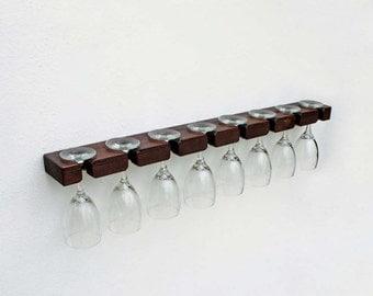Wine Glass Rack, Stemware Rack, Wine Glass Holder, Wall Mount Wine Glass Rack Holds 8 Glasses