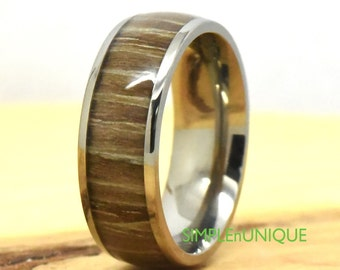 Mens Wooden Ring, Wood Engagement Ring, Titanium Wedding Band, Anniversary Promise Wood Ring for Men,Engagement Ring,Zebra Rosewood Inlay