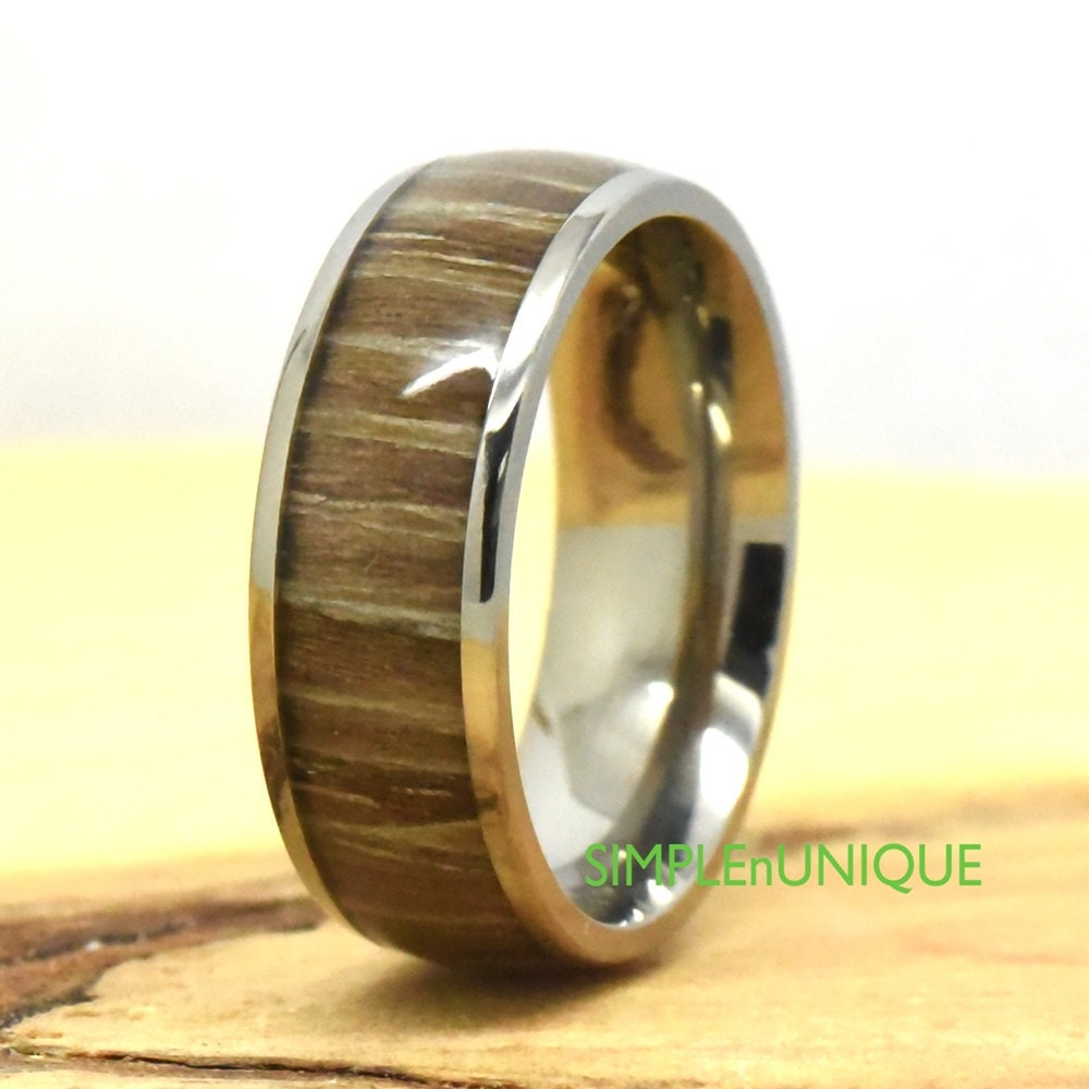 Wooden Rings For Men: Mens Wooden Ring Wood Engagement Ring Titanium Wedding Band