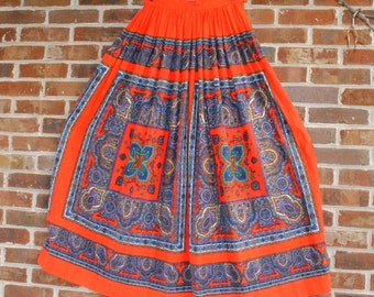 Vintage Red and Paisley Maxi Skirt