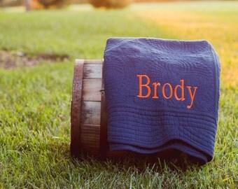 Baby Boy Monogram Quilt | Baby Quilt | Monogrammed Baby Quilt | Monogram Baby Blanket | Baby Boy Gift | Baby Shower Gift | Crib Blanket