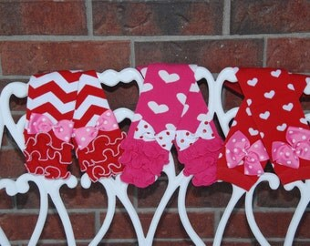 Valentine's Day Leg Warmers! Baby Girl leg warmers for Valentine's Day--Red chevron, Red with hearts, or Pink with hearts