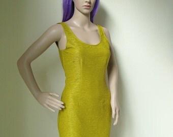 OCHRE DRESS -yellow, mustard, bodycon, sleeveless, party, night, 90s, spice girls, sexy, 80s, club kid, aesthetic, cocktail, little-