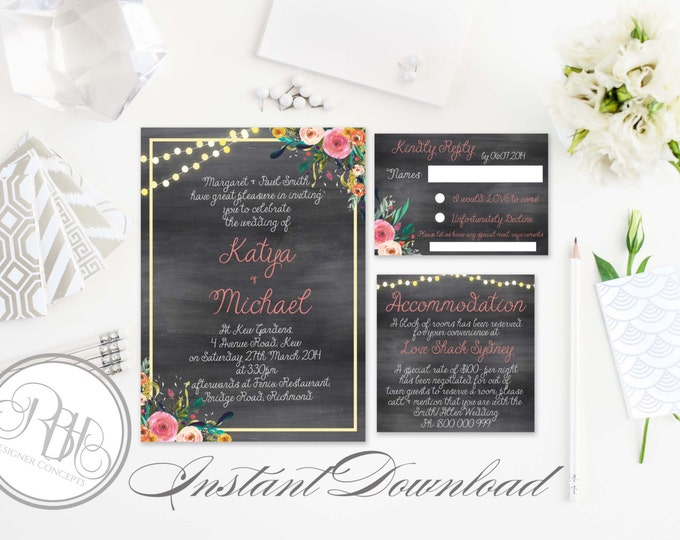 Rustic Chalkboard Invitation-Information Card-Reply Card-Templates-INSTANT DOWNLOAD-DIY Editable Text-String Lights-Invite Package-Teresa