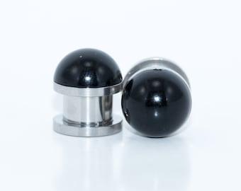 black pearl plugs / 2g, 0g, 00g, 1/2 inch / alternative wedding plugs / pearl gauges / black plugs / bridal gauges / black gauges