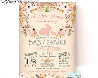 Exceptional Bunny Baby Shower Invitation // Easter Baby Shower Invitation // Rabbit  Baby Shower /