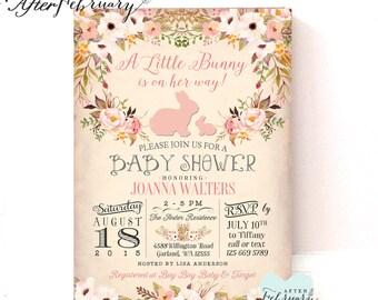 bunny baby shower  etsy, Baby shower invitations
