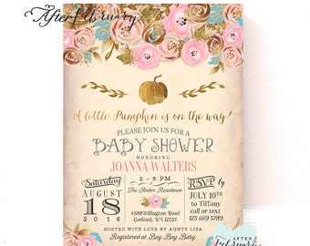 Little Pumpkin Baby Shower Invitation Pink and Gold Baby Shower Invitation Fall Baby Shower Invite  // Printable No.1271BABY
