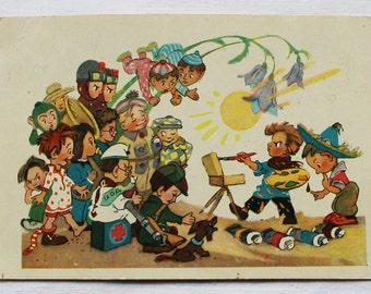 """Illustrator Vladimirsky Vintage Soviet Postcard """"Know-nothing / Dunno"""" N. Nosov - 1957. Sovetskiy hudozhnik."""