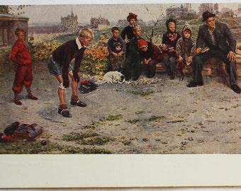 "Artist Grigoriev. Vintage Soviet Postcard ""Goalkeeper"" - 1956. Sovetskiy hudozhnik. Children, Game, Football, Man, Boys, Girls, Dog, Fans"