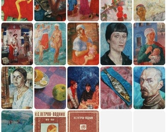 Artist Petrov-Vodkin. Set of 16 Vintage Soviet Postcards - 1978. Izobrazitelnoe iskusstvo. Girl, Guy, Horse, Portrait, Women, Men, Children