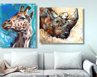zoo nursery print, animal prints jungle, oil Painting, canvas wall decor, african decor, african art, Rhino, giraffe, rustic, for him 8x10