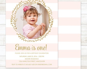Pink Gold First Birthday Invitation, Girl First Birthday Invitation, 1st Birthday Party Invitation, Gold Glitter Birthday Invitation