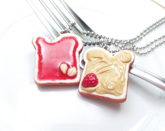 Peanut Butter and Jelly Necklaces, BFF jewelry, Polymer Clay Food, Miniature Food Jewelry, PB&J