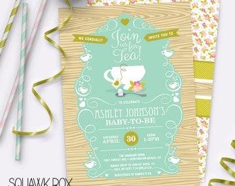 Garden Tea Party Baby Shower Invitation – Gender Neutral – Printable Invitation by Squawk Box Studio
