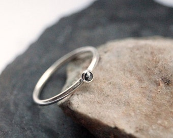 Black Diamond Sterling Silver Stacking Ring ~ statement ring, hammered, gemstone, unique, beaded, birthstone, diamond, stackable