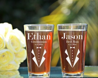 Groomsman Glasses, Pint Groomsman Glasses, Beer Groomsman Glasses, Custom Groomsman Beer Mugs, Personalized Pint Glasses, Engraved Glasses