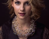 Pearl and sparkling Crystal Crown/necklace