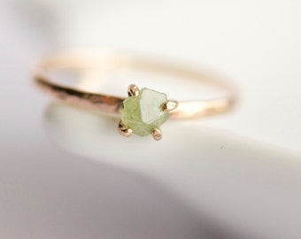 Raw Green Demantoid Garnet Ring. Demantoid Garnet Ring. Garnet Ring. Raw Garnet Ring. Green Garnet Ring. Gift for Her.