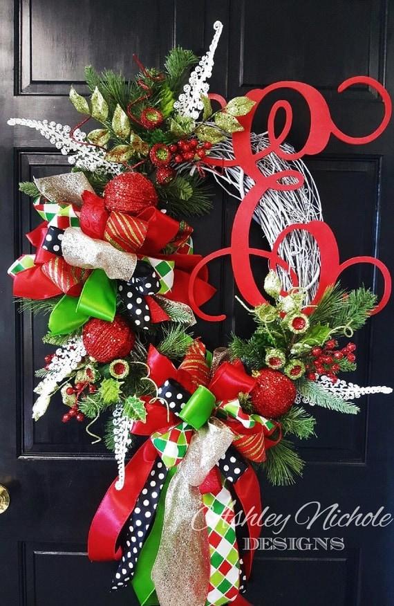 Items Similar To Glitzy Christmas Wreath Christmas Door