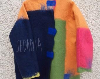 Wool jacket. Handmade felt jacket. Sustainable fashion. Size 42