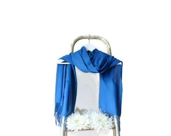 Sapphire Blue Shawl, Royal Blue Wrap, Wedding Shawl, Cotton Translucent Scarf, Bridal Shawl, Bridesmaid Gift, Soft Lightweight Fine Pashmina