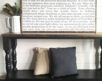 24x48 |Our deepest fear | Marianne Williamson | custom wood sign | inspirational wood sign | farmhouse sign