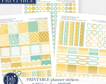 HORIZONTAL printable stickers fits Erin Condren horizontal planner. Mustard yellow, sunny yellow and mint