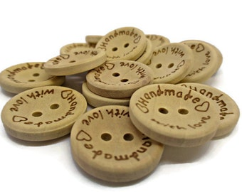 10 wooden buttons, handmade with love, wooden tags printed buttons, with handmade, sewing supplies, crafting buttons,buttons with text