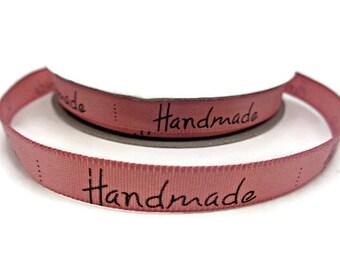 pink ribbon handmade, pink satin ribbon, ribbon tags, ribbon labels, sewing labels, sewing tags uk ribbon supplies, handmade labels