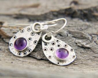 Purple Earrings, Purple Stone Silver Dangle Earrings, Amethyst Silver Earrings,