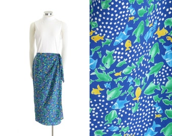 Fish Print Skirt 90s Maxi Skirt Wrap Skirt Blue Skirt 90s Club Kid Vaporwave Clothing Aesthetic Skirt Fun Skirt Sea Punk Womens Medium Large